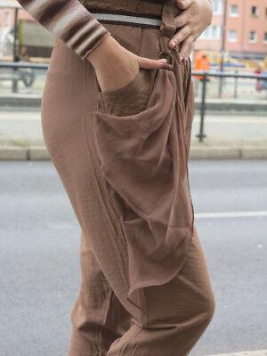 Viskose Hose Bundfaltenhose high waist braun 90s True VINTAGE 90´s cotton pants