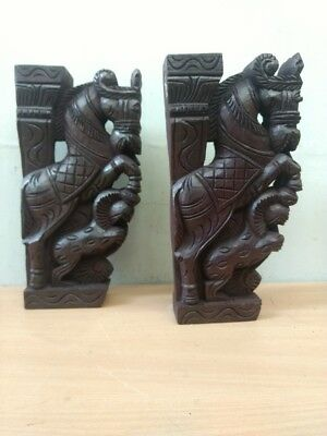Wooden Wall Corbel Pair Horse Sculpture Bracket Dragon Yali Statue Home Decor 7
