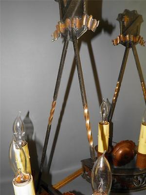 Antique Bronze Gothic Arts& Crafts Pr Sconces Lights Cold Painted Acorns Shield 5