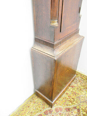 antique grandfather clock oak and mahogany case brass faced arched dial 8 day 5