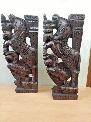 Wall Corbel Pair Wooden Horse Sculpture Bracket Gargoyle Statue Home Decor Rare 5