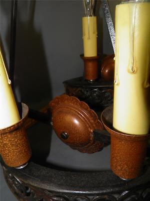 Antique Bronze Gothic Arts& Crafts Pr Sconces Lights Cold Painted Acorns Shield 7