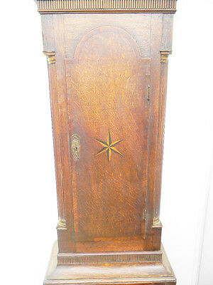 antique grandfather clock oak and mahogany case brass faced arched dial 8 day 4