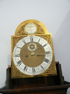 antique grandfather clock oak and mahogany case brass faced arched dial 8 day 10