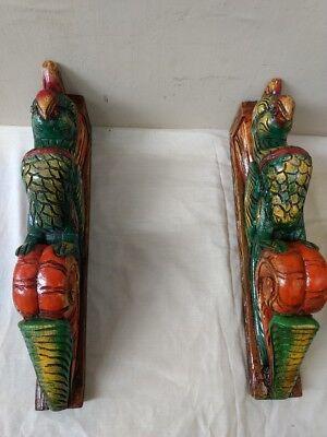Hand carved Eagle Wooden Wall Corbel Bracket Pair Bird Sculpture Art Decor Rare 7