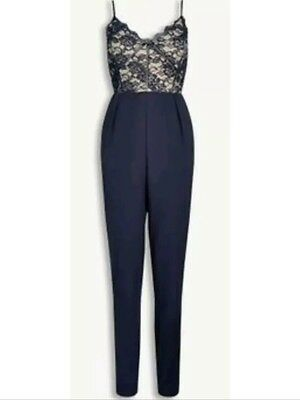 BNWT NEXT eyelash lace trim evening occasion tapered leg tailored jumpsuit 6 16