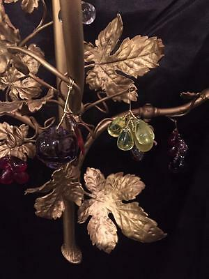 French Antique Solid Brass Grape Leave Sconce With Multi Color Crystals 6