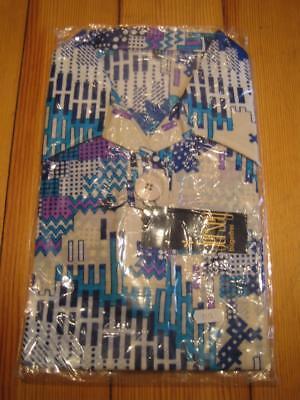 Shirt Oberteil langer Kragen lila blau türkis 70s True Vintage 70er OVP NOS