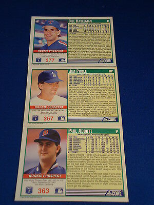 Mike Mussina Lot Of 4 Score 91 Baseball Cards Draft Pick And Rookie Prospects