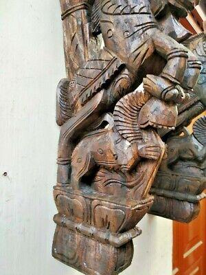 Wall Bracket Horse Sculpture Corbel Pair Wooden Yali Statue Wall Shelf Decor US 5