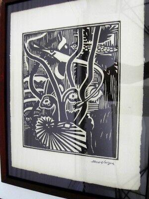 """GLEIZES Albert -BOIS GRAVE TIRAGE 1921""""COMPOSITION CUBISTE/SCÈNE AQUATIQUE"""" AGL8 5"""