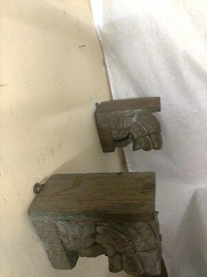Antique Corbel Pair Wall Hanging Wooden Bracket Vintage corbel Home Decor Rare 9