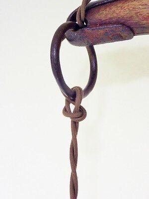 Vintage Industrial Chandelier Fused Glass Shades Horse Evener Wood Cast Iron 8