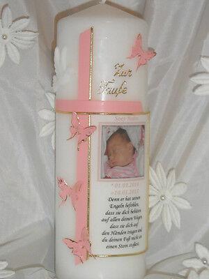 Taufkerze mit Foto mit Taufspruch Junge -Mädchen alles inklusive!!Schmetterling,