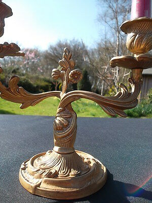 pair of  vintage French brass candlesticks (71730) ****UNUSUAL****** 9