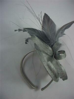 Silver Grey Sinamay Fascinator with Feather Flower - Ascot Wedding Races 4
