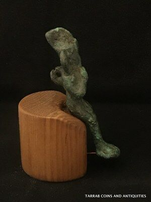 Ancient Egyptian Seated Bronze Harpokrates Amulet Mounted On Wooden Stand!!