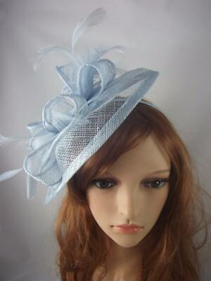 Pale Blue Teardrop Sinamay Fascinator with Feathers - Occasion Wedding Races 2