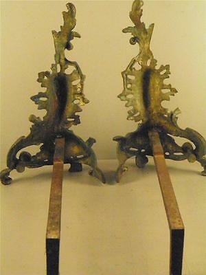 Antique French Louis XV Rococo Ornate Bronze Fireplace Andirons 10