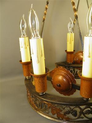 Antique Bronze Gothic Arts& Crafts Pr Sconces Lights Cold Painted Acorns Shield 6