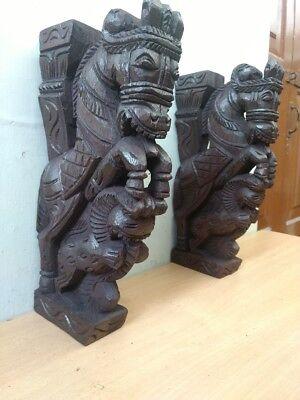 Wooden Wall Corbel Pair Horse Sculpture Bracket Dragon Yali Statue Home Decor 4