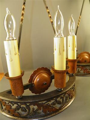 Antique Bronze Gothic Arts& Crafts Pr Sconces Lights Cold Painted Acorns Shield 11