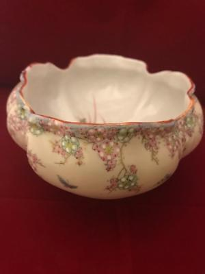 "AA Vantine Nippon Era 8"" Footed Low Bowl w Raised Enamel Flowers and Butterflies 4"