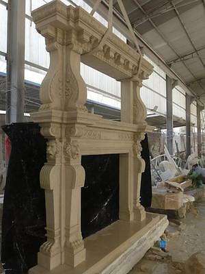 Large Estate Hand Carved Fireplace Mantel - Fireplace Mantel - Monumental Mantel 10