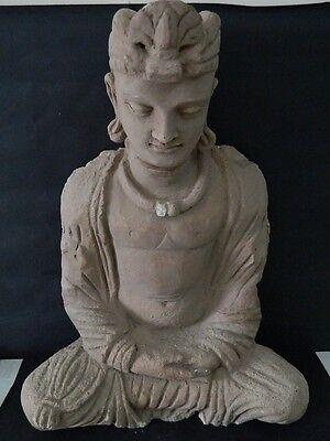 Ancient Huge Size Stucco Sitting Bodhasattva Gandhara/Gandharan 200 AD  #IK846 4