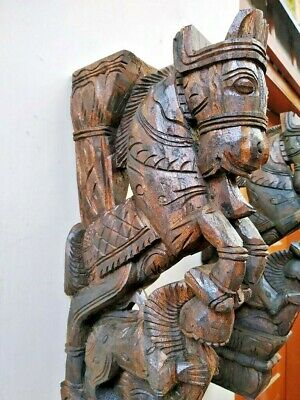 Wall Bracket Horse Sculpture Corbel Pair Wooden Yali Statue Wall Shelf Decor US 4