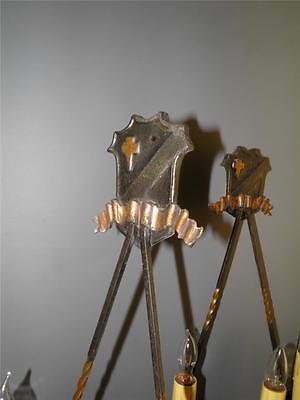 Antique Bronze Gothic Arts& Crafts Pr Sconces Lights Cold Painted Acorns Shield 4