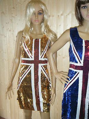 1x UNION JACK ENGLAND FLAG BLING SEQUIN DRESS COSTUME ONE SIZE UK SELLER