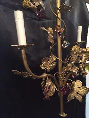French Antique Solid Brass Grape Leave Sconce With Multi Color Crystals 9