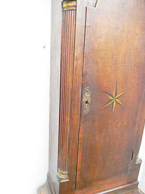 antique grandfather clock oak and mahogany case brass faced arched dial 8 day 8