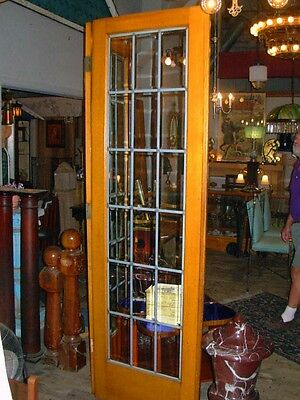 Pair Of Beveled Leaded Glass French Doors In Oak 4