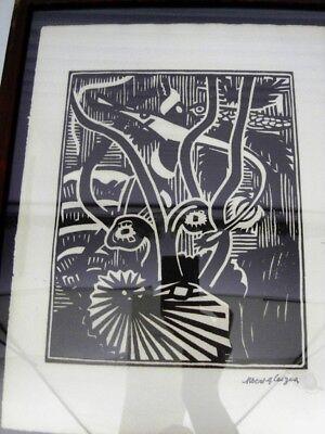 """GLEIZES Albert -BOIS GRAVE TIRAGE 1921""""COMPOSITION CUBISTE/SCÈNE AQUATIQUE"""" AGL8 3"""