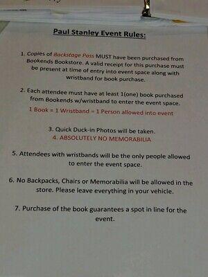 Paul Stanley Backstage Pass Signed Book Kiss + Bonus Event Flyer  Ace Gene Peter 3