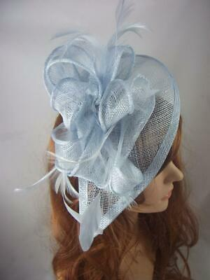 Pale Blue Teardrop Sinamay Fascinator with Feathers - Occasion Wedding Races 3