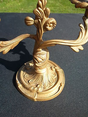 pair of  vintage French brass candlesticks (71730) ****UNUSUAL****** 10