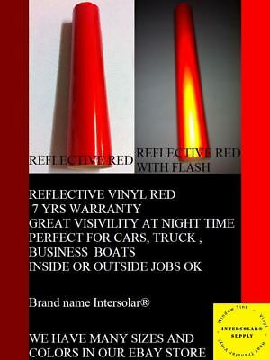 "12"" x 5 ft  RED  Reflective Vinyl Adhesive Sign Hight Reflectivity Intersolar®"
