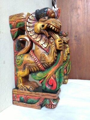 Wall Wooden Bracket Corbel Pair Temple Yalli Dragon Statue Sculpture Home Decor 6
