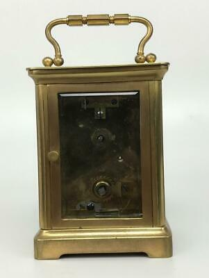 Antique 19thC French Brass Glass Carriage Officers Clock +Key HENRI JACOT (Attr) 8