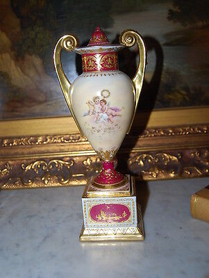 Superb Royal Vienna Neoclassical Vase Urn Hand Painted By Simon Burgundy & Gold 3
