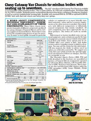 1979 Chevrolet School Bus Chassis Original Car Sales Brochure Folder