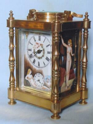 Antique Style French Carriage Clock Repeater Alarm With Erotic Decoration 3