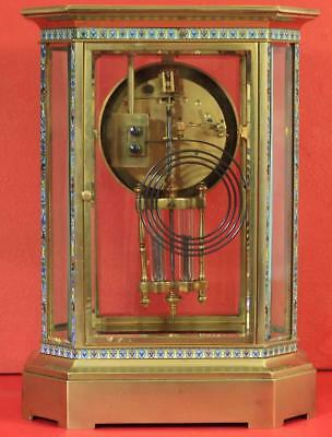 Rare Japy Freres 8 Glass Cloisonne Antique French Crystal Regulator Mantle Clock 9