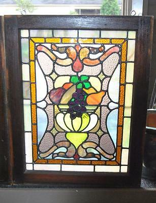 Pair Of American Stained Glass Windows With Fruit Basket Detail, 1910 2