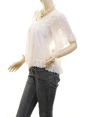 Victorian Faux Silk Sheer Chiffon Embroidered Lace Trim Peasant Blouse Shirt Top 5