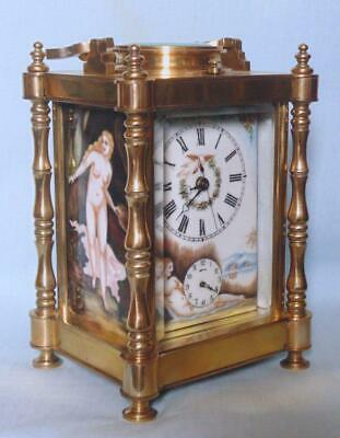 Antique Style French Carriage Clock Repeater Alarm With Erotic Decoration 2