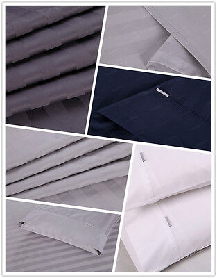 1000TC 100% Egyptian Cotton Double Queen King Bed Sheet Set (Stripe). 4 Pieces 4